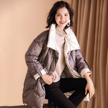 Down jacket women's jacket new loose cotton coat in the winter long paragraph lapel loose thin white duck down