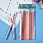 New log softening pencil customized wholesale student pencil HB logs with rubber pencils wholesale
