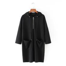 2018春裝新款歐洲站女裝胸前拉鏈抽繩寬松休閑運動衛衣直筒連衣裙