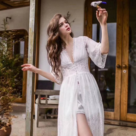 New summer dress for women can wear ultra-thin French lace nightdress