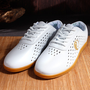 Tai chi shoes for women and men Wulin breathable soft leather shoes sports tendon soft sole martial arts shoes men and women morning exercise shoes