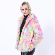 2019秋冬新款实拍欧美外贸彩色混色渐变仿皮草短款长袖女外套大衣