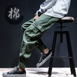 Spring and Autumn New Men's Outdoor Sports trend Fashion thin Youth loose-footed Multi-bag trousers
