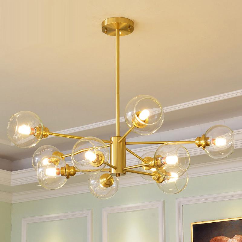 北欧风格全铜灯具后现代创意分子客厅灯卧室简约树枝餐厅纯铜吊灯