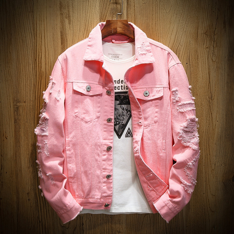 Spring and autumn new style wash hole embroidery denim jacket couple size thin jacket trendy men's casual coat