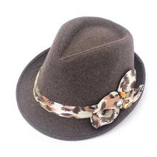 晴舫法兰呢花朵礼帽秋冬季三瓣花时尚女士帽流行爵士小礼帽厂家