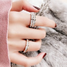 歐美鈦鋼鑲鑽戒指 批發韓版鈦鋼飾品雙排滿鑽不銹鋼戒指廠家直銷