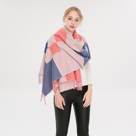 New imitation cashmere scarf warm thickening spell color Ms. shawl bib dual-use