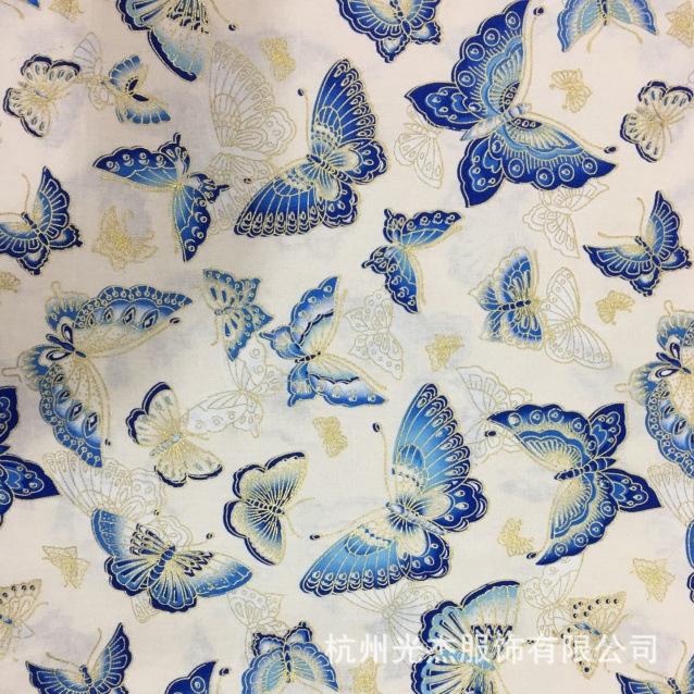 棉麻印花烫金布 日式和风棉麻印花烫金布 樱花和风卷帘布棉麻帆布烫
