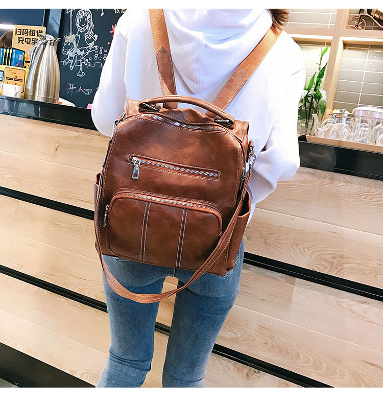 Fashion wild casual soft pu leather small backpack NHLD121234