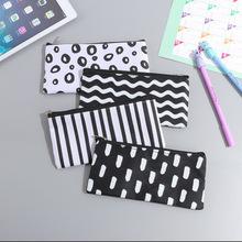新款 韓國文具簡約波浪條紋筆袋文具包化妝包藥包眼鏡收納包