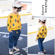 套裝秋款男女童2018童裝黃色樹葉韓版中小童上衣牛仔長褲一件代發