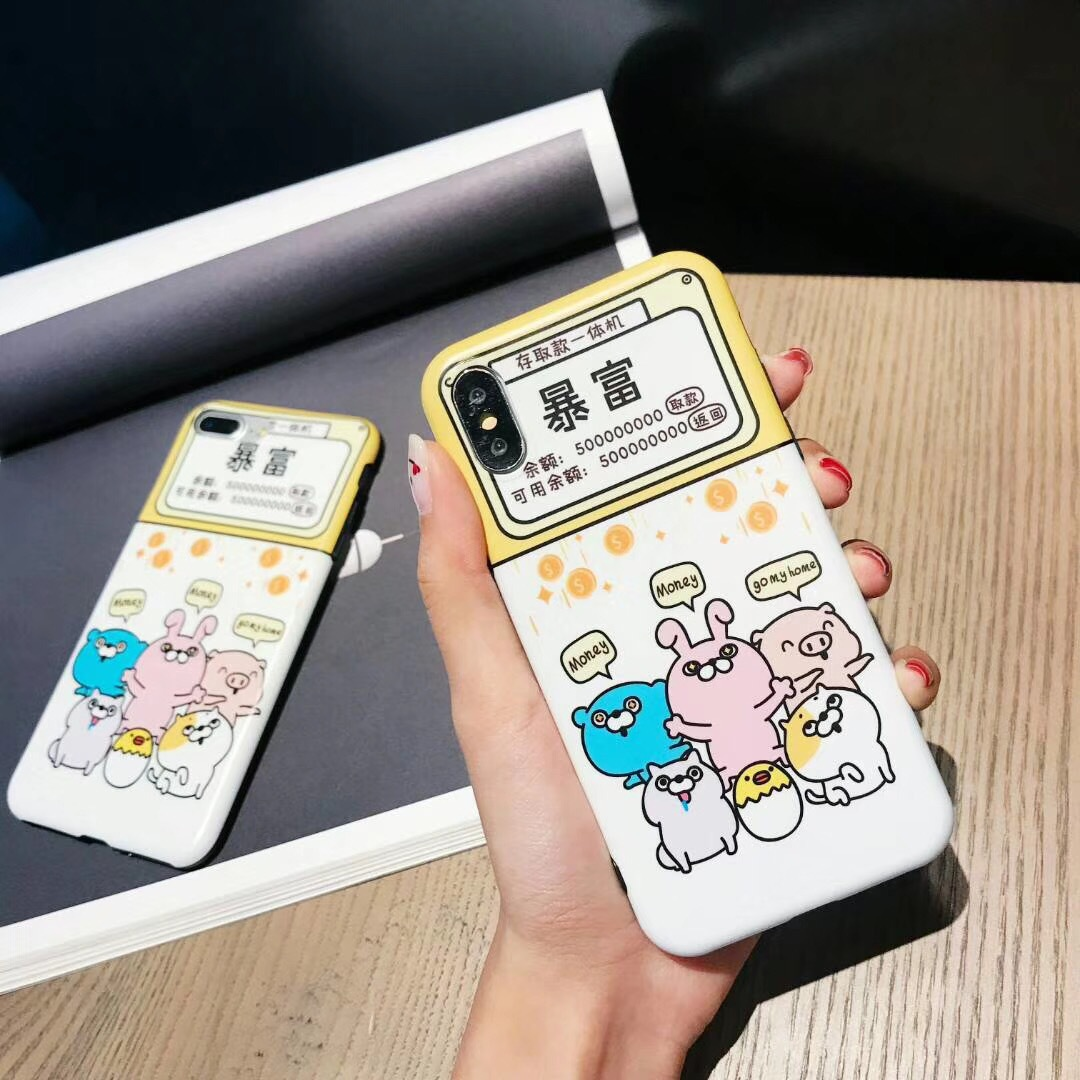 Simple and fun text rich and violent iPhone6S78PLUS protective cover mobile phone shell Apple X all-inclusive soft shell