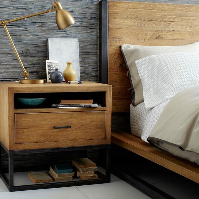 美式卧室实木床头柜 复古客厅铁艺边柜酒店宾馆公寓带抽屉床边桌