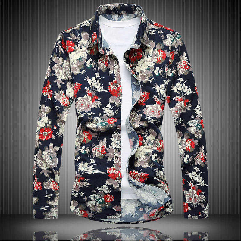 New men's fattening plus size casual long sleeve printed shirt in spring and autumn of 2018