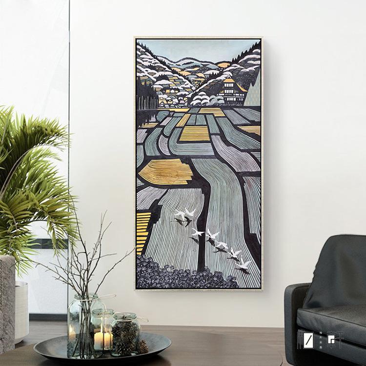 五谷丰登 新中式抽象装饰画玄关背景墙壁画?#39057;?#31446;幅挂画