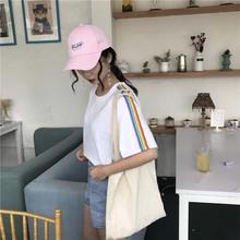 夏季新款女裝 學生寬松百搭彩虹條紋T恤 女士露臍裝高腰上衣女