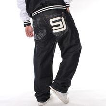 欧美潮男装加肥加大码长裤嘻哈牛仔裤HIPHOP街舞印花宽松滑板裤子