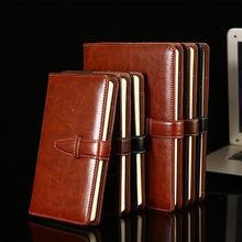 A5帶扣商務辦公隨身便攜平裝簡約記事本子 A6皮面創意筆記本定制