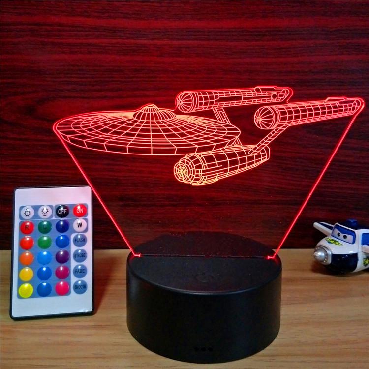 led太空飞船3d创意七彩小夜灯usb充电亚克力定制创意灯相片礼品灯