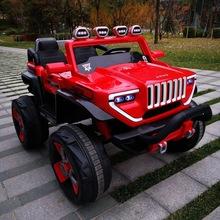 新款真双座儿童电动车四轮双驱摇摆遥控汽车可坐宝宝小孩玩具童车