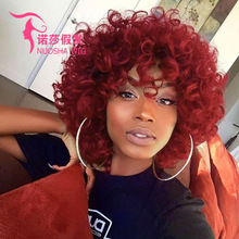 new product explosions Europe and America wigs African black wine red short curly hair rose net wig hood