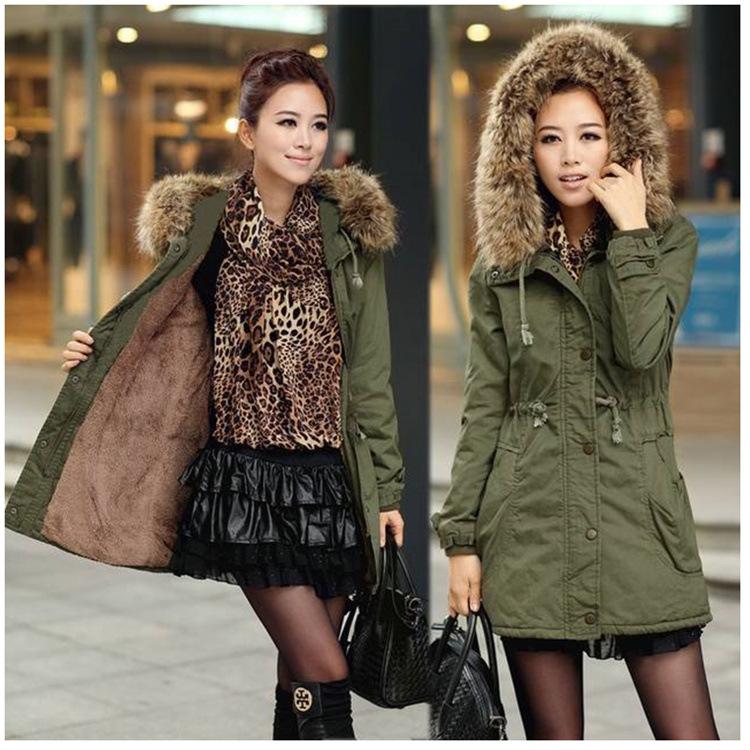 亚马逊eBay速卖通wish热卖冬装军绿色外套毛领连帽加厚棉衣棉服女
