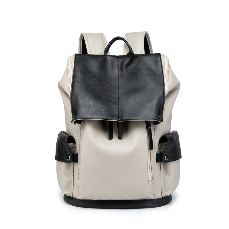 新款双肩包男包背包PU皮时尚潮流大容量青年书包电脑包休闲旅行包