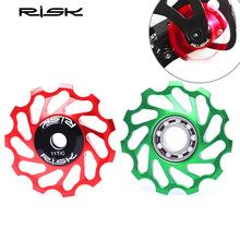 RISK山地自行车陶瓷后拨导轮11T齿变速器CNC铝合金培林轴承张力轮