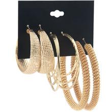欧美大牌夸张耳环组合套装女跨境金色弹簧耳钉3对铁圈耳圈饰品