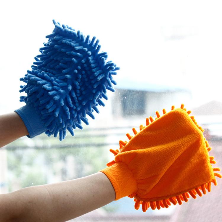 居家日用百货超细纤维单面加厚雪尼尔擦车手套洗车工具 清洁抹布