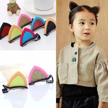 立体猫耳朵儿童发夹 韩国可爱亮片宝宝发卡边夹批发 义乌2元饰品