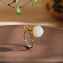 人品銀品S925純銀飾品時尚燒藍和田玉蓮花戒指愛蓮說跨境配飾手飾