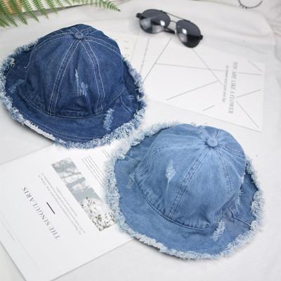 日系儿童帽子水洗牛仔渔夫帽韩版儿童帽子个性毛边遮阳帽潮童盆帽
