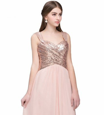 Chest Chiffon pure sling Sequin backless sexy party Bridesmaid Dress