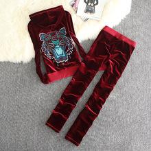 2018年春季新款金丝绒直筒休闲运动女套装