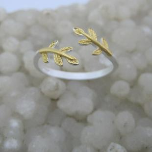 Style s925 sterling silver leaf ring sterling silver 925 silver ring