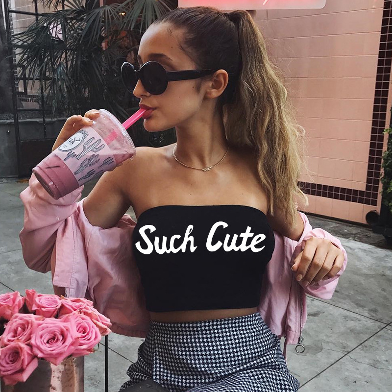 Fast selling popular style 2018 foreign trade hot new women's clothing alphabet print bra wrap chest women's vest b3032
