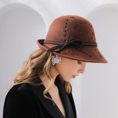 Embroidered hand bound bead flannel Wool Hat Women's felt hat round pass curling edge hat
