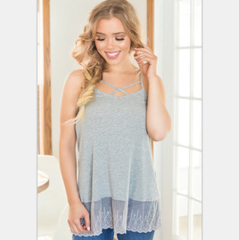 Spring and Summer Mazzeni Euro-American Fashionable Sexy Cross Hanging Lace Top