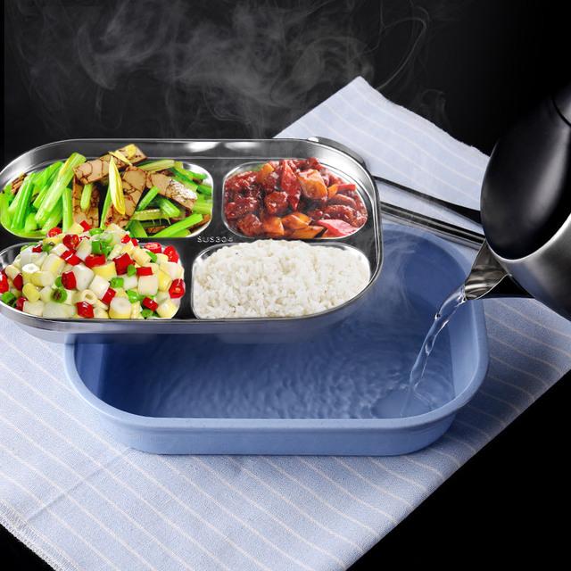 304 bữa ăn bằng thép không gỉ trưa cai trị sinh quà tặng khay đôi hộp ăn trưa cách nhiệt phân vùng vật liệu cách nhiệt Hộp chiên, hộp ăn trưa