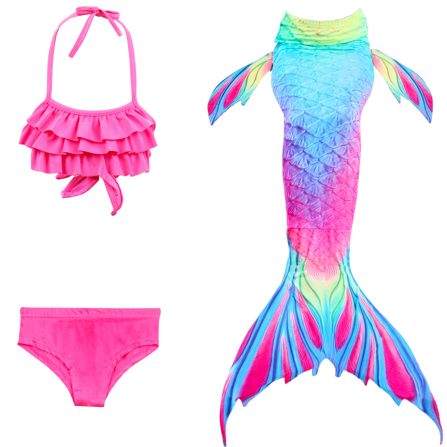 9212166231 898390851 - 4PCS/Set HOT Kids Girls Mermaid Tails with Fin Swimsuit Bikini Bathing Suit Dress for Girls With Flipper Monofin For Swim