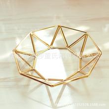 北欧ins 玻璃收纳盘 金色托盘 简约首饰化妆品摆件 复古铜条茶盘