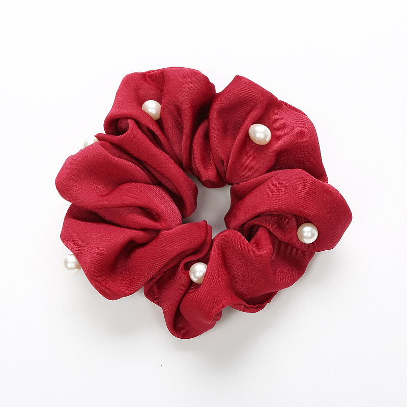 Korean cloth art headdress pearl hair band tying hair rubber band large intestine hair rope holster flower hair accessories wholesale NHOF197051