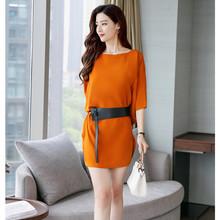 高端精品新款夏季女裝圓領收腰性感女裙子蝙蝠袖歐美連衣裙送腰帶