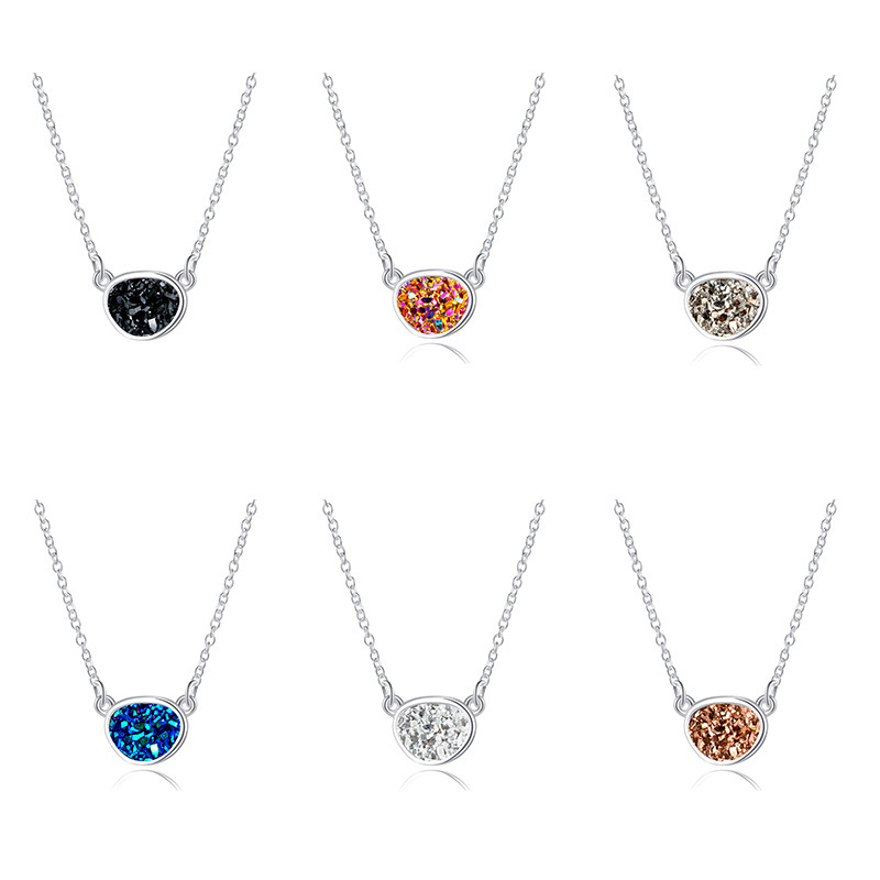 Hot Selling Shaped Round Pendant Fashion Crystal Cluster Imitation Natural Stone Necklace  NHAN251904