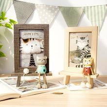 美式卡通动物照片框书桌创意相框摆台甜品童装店橱窗趣味装?#20301;?#26694;
