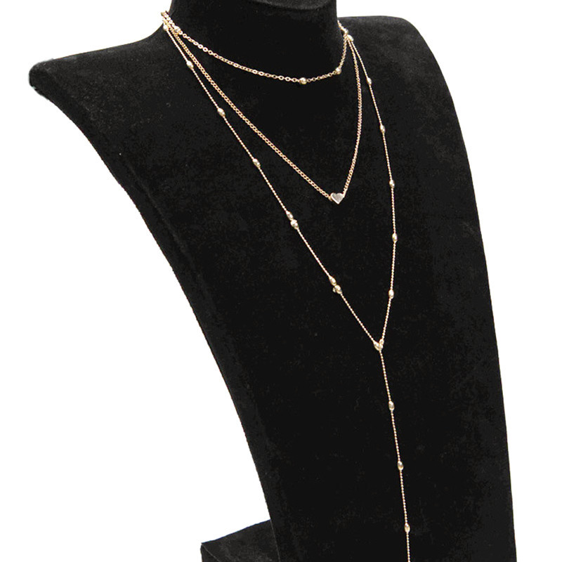Fashion alloy beaded heart-shaped multi-layer necklace NHPF151527