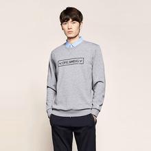 2018冬季新品衬衫领男加绒加厚保暖假两件T恤潮流印花针织长袖T恤