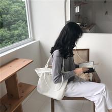 韩国ins新款大容量简约布袋厚帆布单肩包原宿ulzzang手提大包